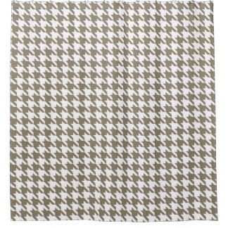 Clay and White Houndstooth Pattern Shower Curtain