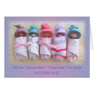 Clay Babies: Thanks To My Midwife: Sculptures Card