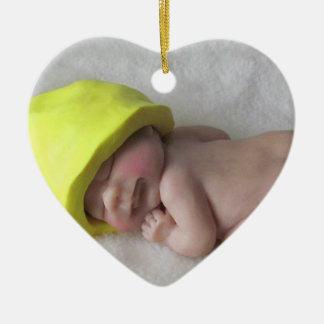 Clay Baby Sleeping on Tummy, Elf Hat, Sculpture Ceramic Ornament