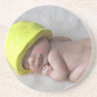 Clay Baby Sleeping on Tummy, Elf Hat, Sculpture Coaster