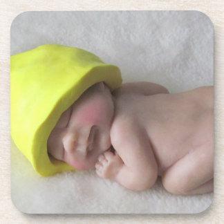 Clay Baby Sleeping on Tummy, Elf Hat, Sculpture Drink Coaster