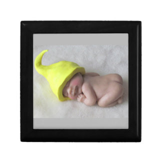 Clay Baby Sleeping on Tummy, Elf Hat, Sculpture Gift Box