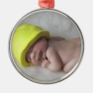 Clay Baby Sleeping on Tummy, Elf Hat, Sculpture Metal Ornament