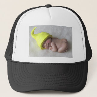 Clay Baby Sleeping on Tummy, Elf Hat, Sculpture Trucker Hat