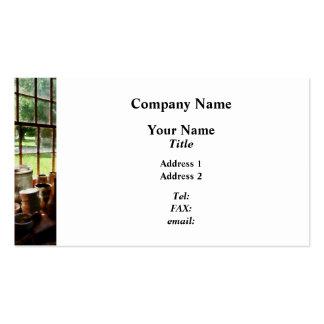 Clay Jars on Windowsill Business Card Template