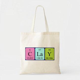 Clay periodic table name tote bag