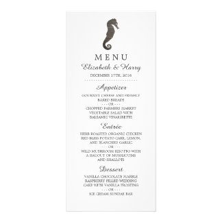 Clay Seahorse Beach Wedding Menu Full Colour Rack Card