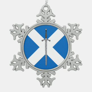 Claymore and Saltire Snowflake Pewter Christmas Ornament