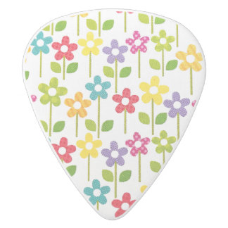 Clayton Guitar Pick with Colorful Flower Design White Delrin Guitar Pick