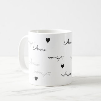 clean and clear name typography love coffee mug