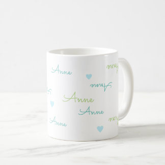 clean and clear typography love mug with names