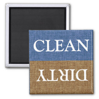 Clean and Dirty, Blue and Brown Faux Burlap Square Magnet