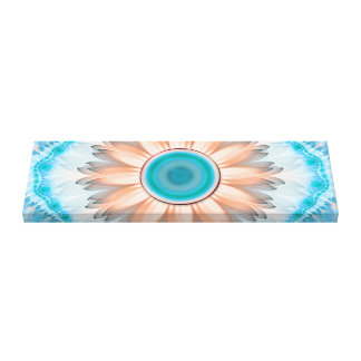 Clean and Pure Turquoise and White Fractal Flower. Canvas Print