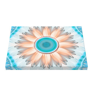 Clean and Pure Turquoise and White Fractal Flower Canvas Print