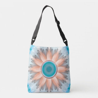 Clean and Pure Turquoise and White Fractal Flower. Crossbody Bag