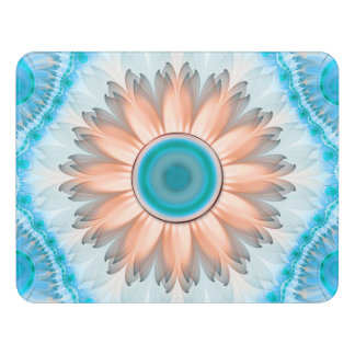 Clean and Pure Turquoise and White Fractal Flower Door Sign