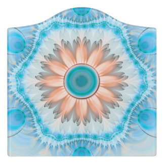 Clean and Pure Turquoise and White Fractal Flower. Door Sign