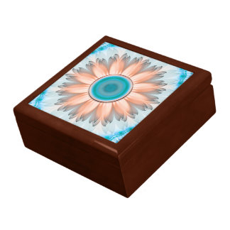 Clean and Pure Turquoise and White Fractal Flower Gift Box