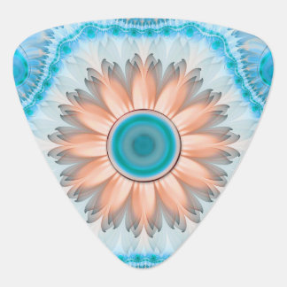 Clean and Pure Turquoise and White Fractal Flower. Guitar Pick