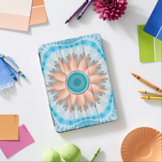 Clean and Pure Turquoise and White Fractal Flower iPad Air Cover