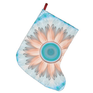 Clean and Pure Turquoise and White Fractal Flower Large Christmas Stocking