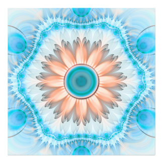 Clean and Pure Turquoise and White Fractal Flower. Photo Print