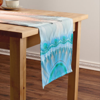 Clean and Pure Turquoise and White Fractal Flower. Short Table Runner