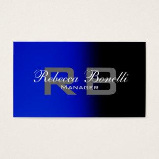 Clean Black Blue Gray Monogram Business Card