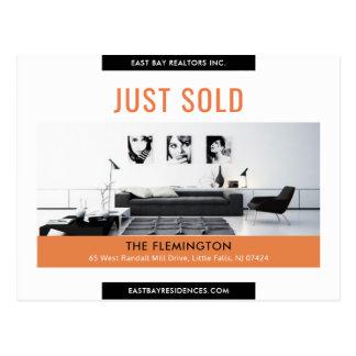 Clean black orange Just sold real estate advert Postcard