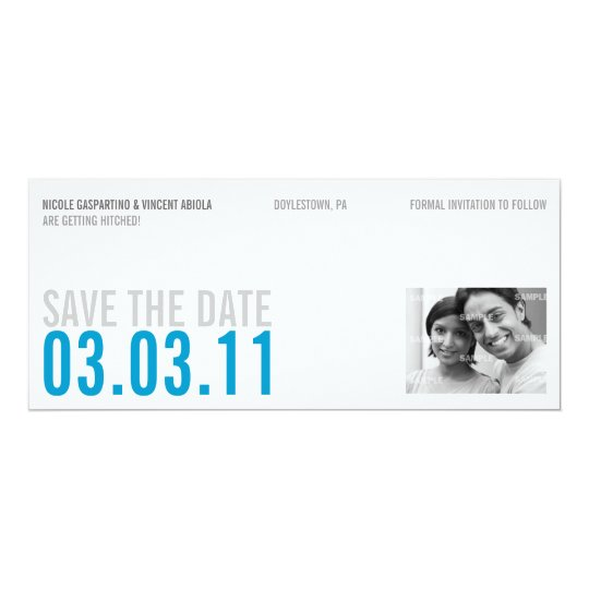 Clean Blue Photo Save The Date Card