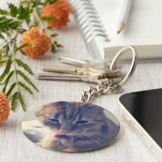 Clean cat basic round button key ring