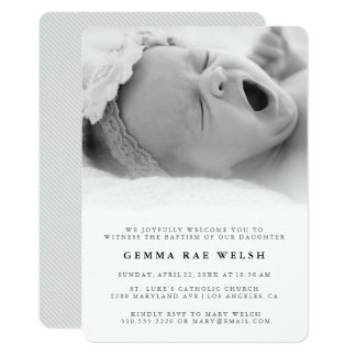 Clean & Classic Photo Baptism Invitation