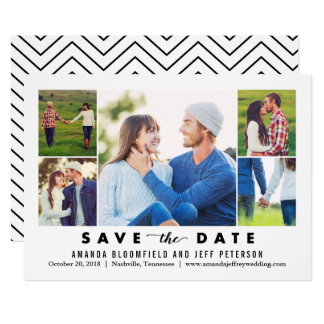 Clean Collage EDITABLE COLOR Save The Date Card