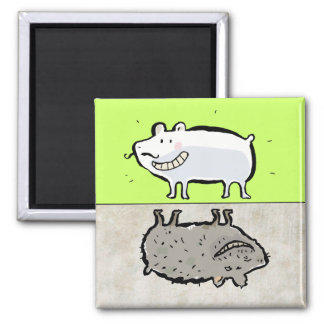 clean / dirty animals (dishwasher) square magnet