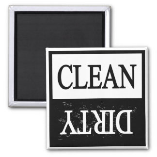 Clean dirty-Black border dishwasher magnet