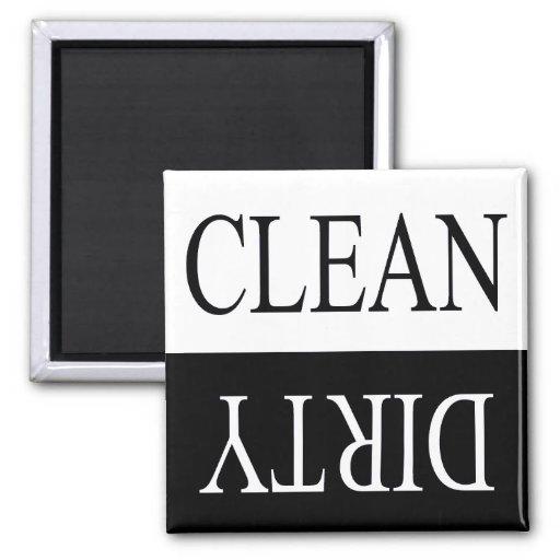Clean dirty-Black dishwasher magnet
