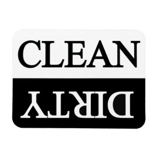 Clean dirty black dishwasher rectangular photo magnet