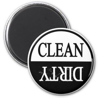 Clean dirty-Black round dishwasher magnet