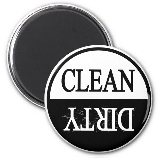 Clean dirty-Black round dishwasher magnet