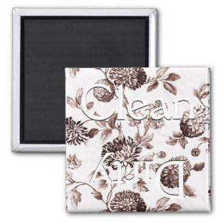 Clean Dirty Brown Vintage Floral Toile Dishwasher Square Magnet