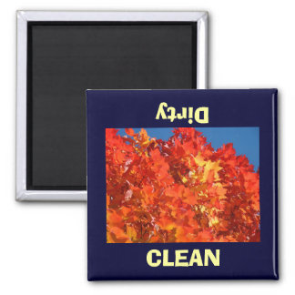CLEAN Dirty Dish Washer magnets Orange Autumn