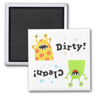 Clean dirty dishwasher magnet funny green monster