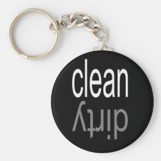 Clean/Dirty Dishwasher Magnet Basic Round Button Key Ring