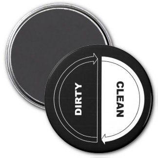 Clean-Dirty dishwasher magnet (on black)