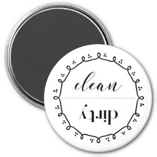 Clean Dirty Dishwasher Magnet With Doodle Wreath