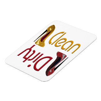 Clean, Dirty Dishwasher Magnet with Stiletto Art