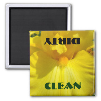 Clean Dirty Dishwasher magnet Yellow Iris Flowers