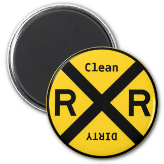 Clean Dirty Dishwasher Railroad Crossing 6 Cm Round Magnet