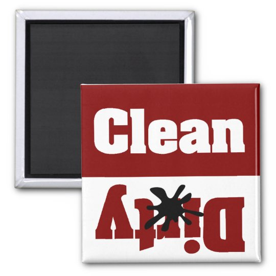 clean dirty red dishwasher magnet
