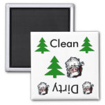 Clean dirty santa Dishwasher Magnets